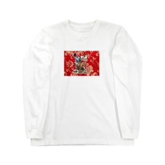 食い散らかし 中華パーティ 赤 Long sleeve T-shirts