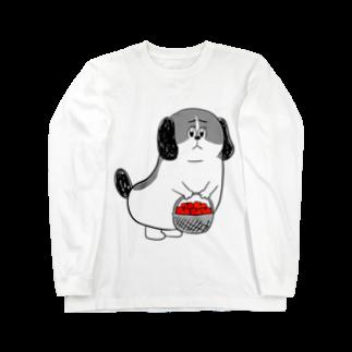 マツバラのもじゃまるお見舞い 白黒 Long sleeve T-shirts