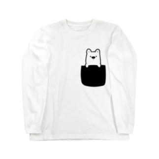 白くまをポケットに Long sleeve T-shirts
