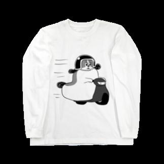 マツバラのもじゃまるバイク移動 黒 Long sleeve T-shirts