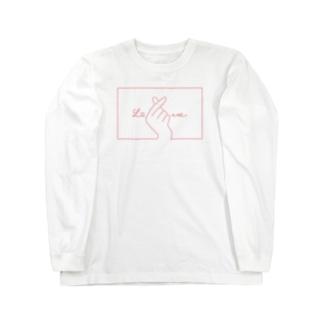指ハート(Red) Long sleeve T-shirts