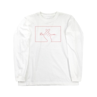 指ハート(Red) Long sleeve T-shirts
