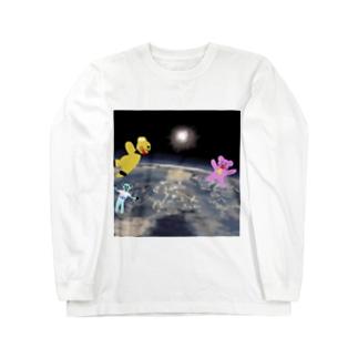 宇宙を旅するくまさん「成層圏(高度20,000m)」 Long sleeve T-shirts