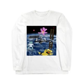 宇宙を旅するくまさん「国際宇宙ステーション」 Long sleeve T-shirts