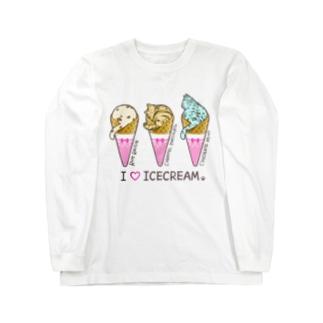 猫アイスクリーム Long sleeve T-shirts