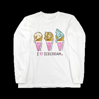 もももーこの猫アイスクリーム Long sleeve T-shirts