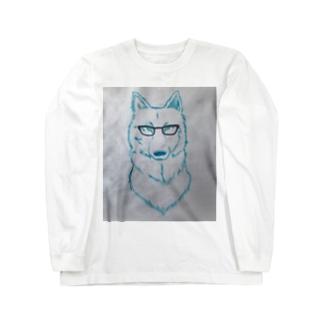 黒ぶちメガネと狼くん 手描きイラストトップス Long sleeve T-shirts