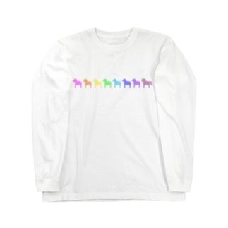 ミニダーラナホース_レインボー Long sleeve T-shirts