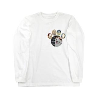 白柴シロだらけ肉球ティーシャツ Long sleeve T-shirts