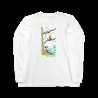 もけけ工房 SUZURI店のThree brothers of a cat Long sleeve T-shirts