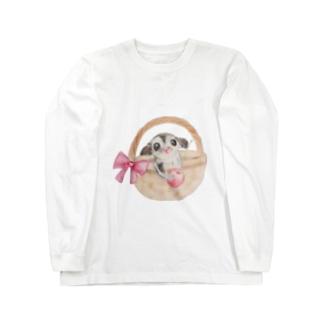 フクロモモンガとさくらんぼ Long sleeve T-shirts