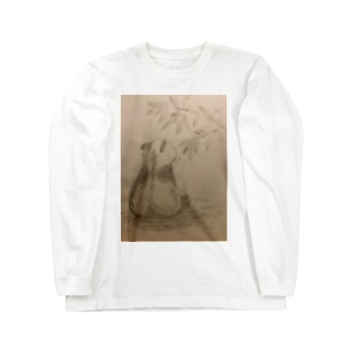 和柄 後ろ姿パンダ Long sleeve T-shirts