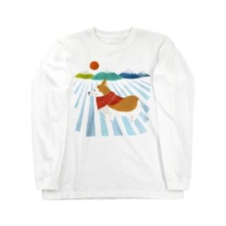コーギー 日の出 Long sleeve T-shirts
