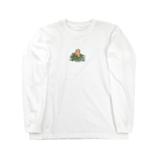 チモシーに埋もれるうさぎさん オレンジロップ Long sleeve T-shirts