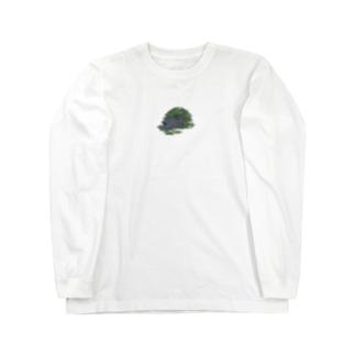 チモシーに埋もれるうさぎさん ブラック Long sleeve T-shirts