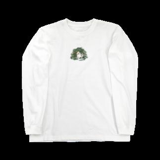 SCHINAKO'Sのチモシーに埋もれるうさぎさん ブロークンオレンジ Long sleeve T-shirts