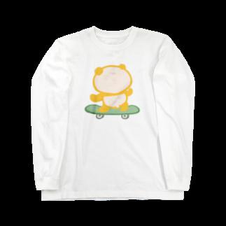 ぱんだ丸ショップのスケボーパンダ Long sleeve T-shirts