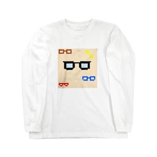 ドット メガネ Long sleeve T-shirts