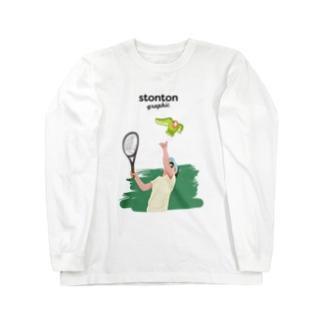コザクラインコをサービストスするガール Long sleeve T-shirts