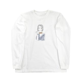 不機嫌な眼差しgirl Long sleeve T-shirts