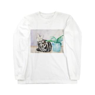 ポアロと植え木鉢 Long sleeve T-shirts