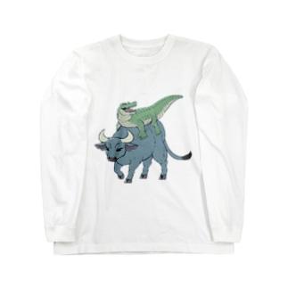 笑うワニとバッファロー Long sleeve T-shirts
