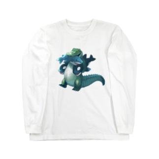 サメとシャチのぬいぐるみ Long sleeve T-shirts