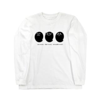 見ざる聞かざる言わざる◆おばけ(黒) Long sleeve T-shirts