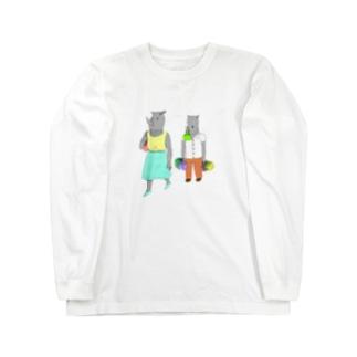 荷物を持たされるサイ Long sleeve T-shirts