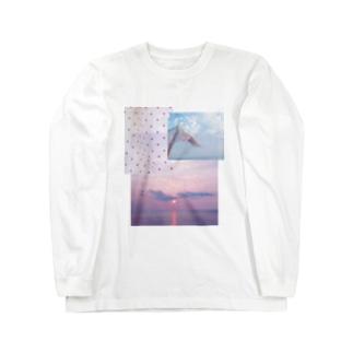 水玉と風のパッチワーク Long sleeve T-shirts