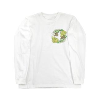 野菜の花の輪1・イングリッシュアグーチ Long sleeve T-shirts