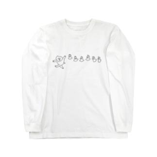 ブタとトリ こっちだよ Long sleeve T-shirts
