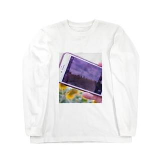 携帯越しの向日葵 Long sleeve T-shirts