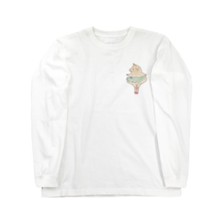 モルモットのバレリーナちゃん青 Long sleeve T-shirts