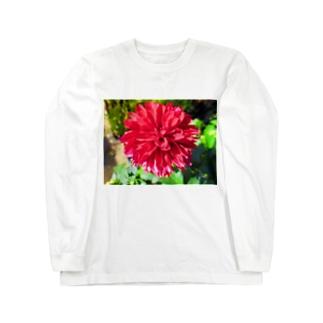 Dreamscapeの秋風ダリア Long sleeve T-shirts