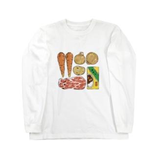 カレーの材料を覚えておくため Long sleeve T-shirts