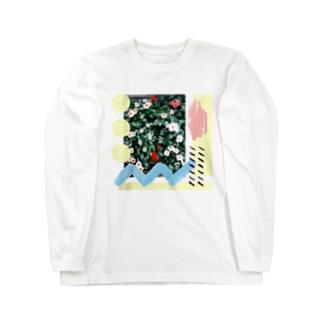 赤と白の花 Long sleeve T-shirts