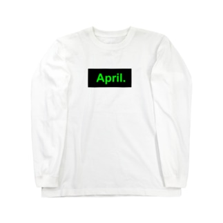 April.BOX LOGO(グリーン×ブラック) Long sleeve T-shirts
