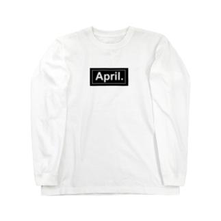 April.BOX LOGO(ブラック×ホワイト) Long sleeve T-shirts