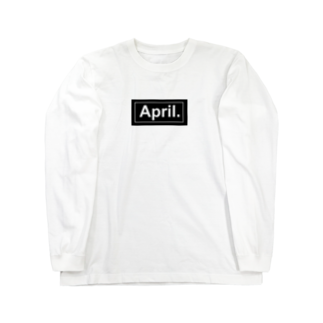 April.のApril.BOX LOGO(ブラック×ホワイト) Long sleeve T-shirts