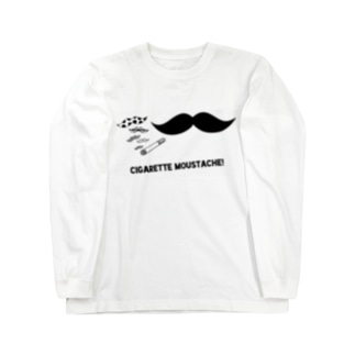 Cigarette Moustache モノクローム Long sleeve T-shirts