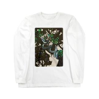 陰をゆく木登り蛇のTシャツ  Long sleeve T-shirts