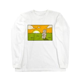 感傷に浸る猫ちゃん Long sleeve T-shirts