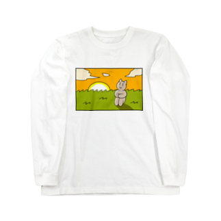 酒本さけの感傷に浸る猫ちゃん Long sleeve T-shirts
