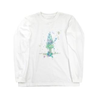 葉車-雪つもるもみの木- Long sleeve T-shirts