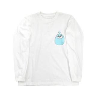 ぽにゃぽにゃ。ライトブルー。 Long sleeve T-shirts