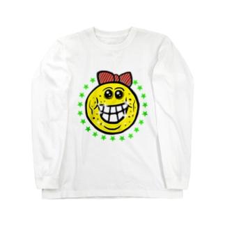 笑い太郎リボン付き Long sleeve T-shirts