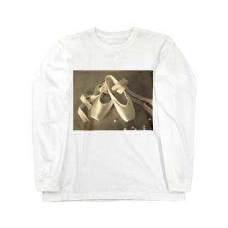 バレエ トウシューズ柄 Long sleeve T-shirts