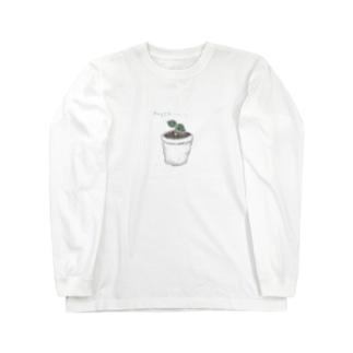 葉っぱ  鉢植え Long sleeve T-shirts