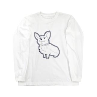 可愛いベロ出しコーギー Long sleeve T-shirts